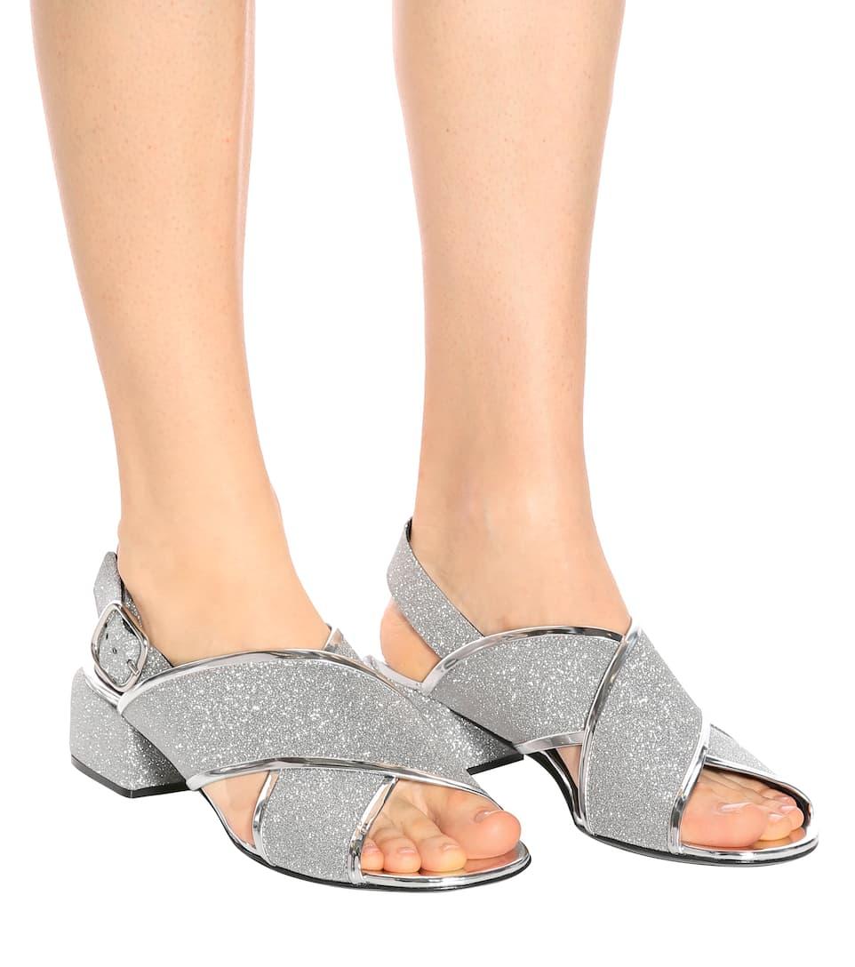 de Glitter Plata Sandalias cuero cruzadas Marni 5IwZ0w