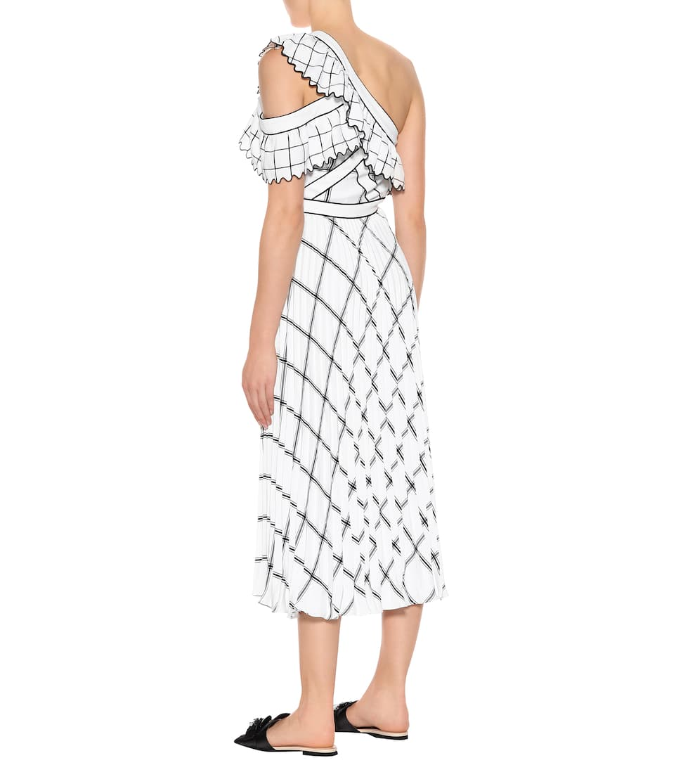 Self-Portrait Checked crêpe maxi dress White Cheap Sale Big Discount Excellent For Sale Clearance Store Cheap Online Discount 100% Authentic Cheap New Styles BmL3fy