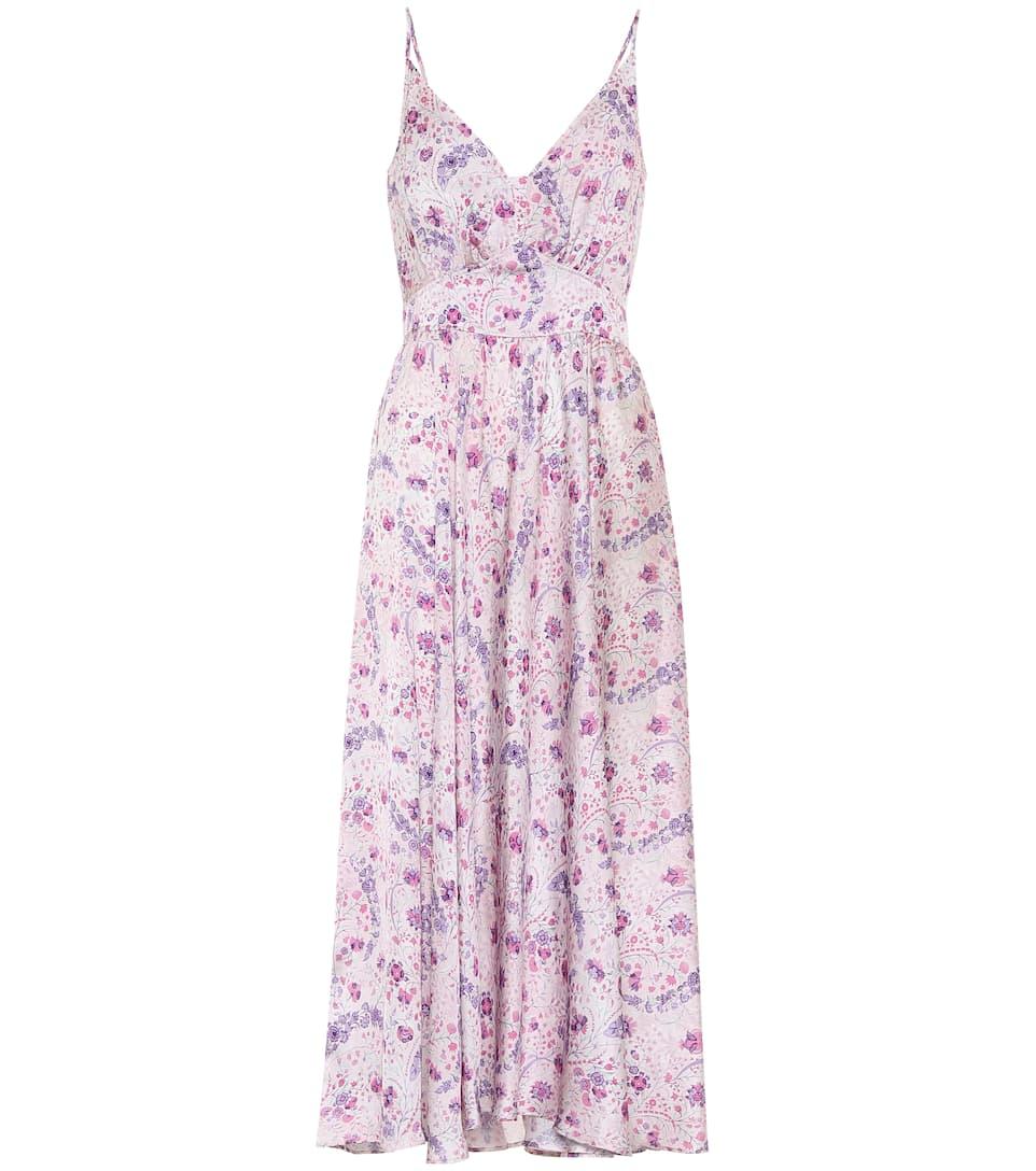 Satin Button Floral Dress