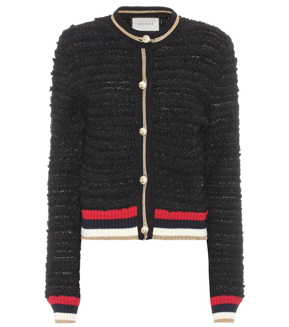 Cotton Blend Tweed Cardigan by Gucci