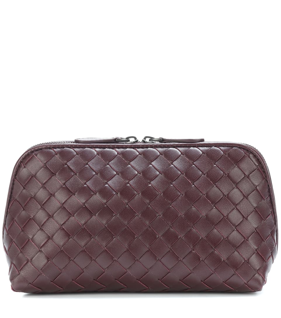 Intrecciato Leather Cosmetics Case, Female