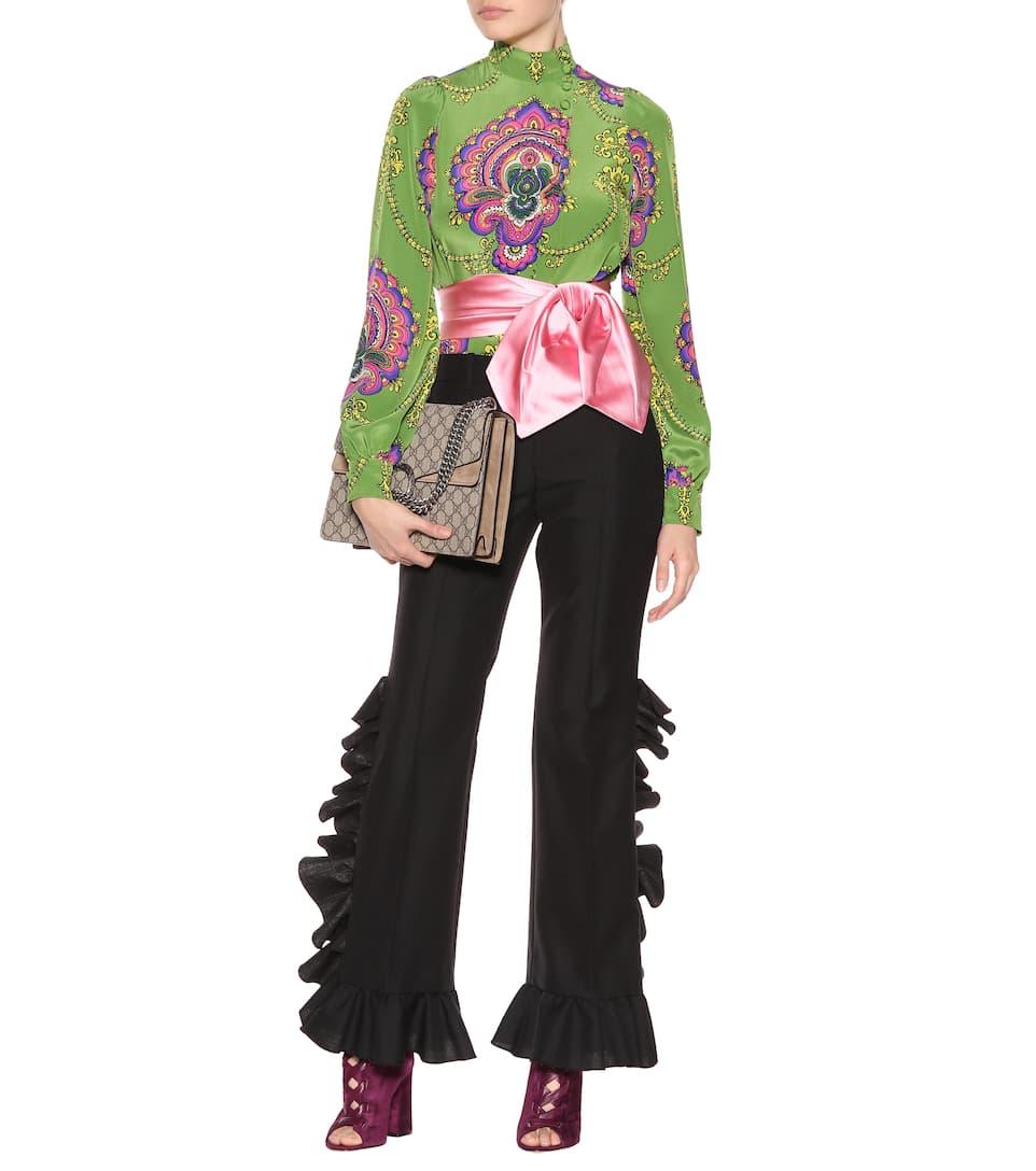 Auslass 100% Original Auslass Besuch Neu Gucci Hose aus Wolle und Mohair mit Rüschen Spielraum Amazon Rabatt Footlocker Finish yxv6FR