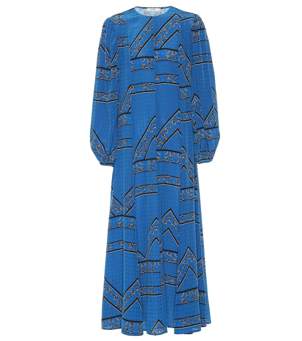 Printed Silk Maxi Dress by Ganni