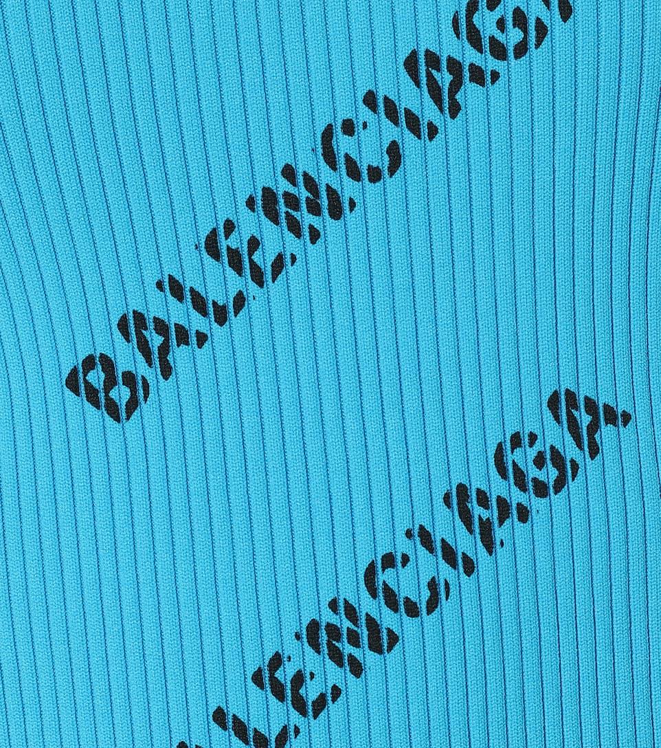 Balenciaga - Logo ribbed-knit minidress