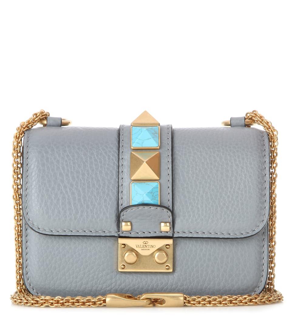 Valentino Lock Mini Rockstud Rolling leather shoulder bag