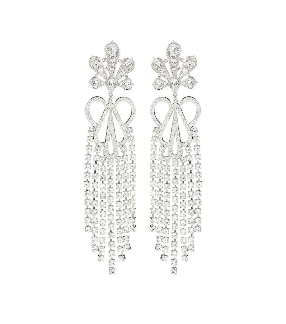 Crystal Embellished Clip On Earrings by Paco Rabanne