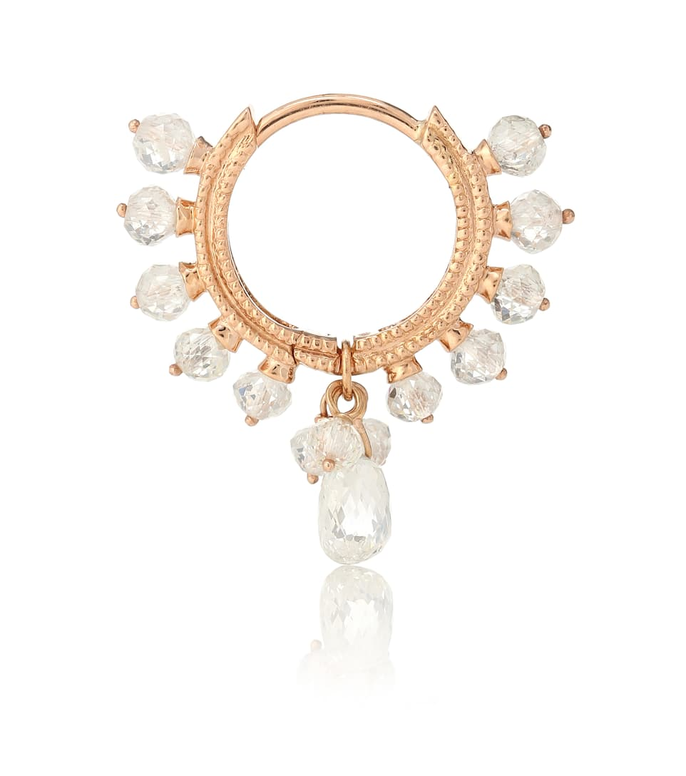 18kt Rose Gold Hoop Single Earring With Diamonds Maria Tash