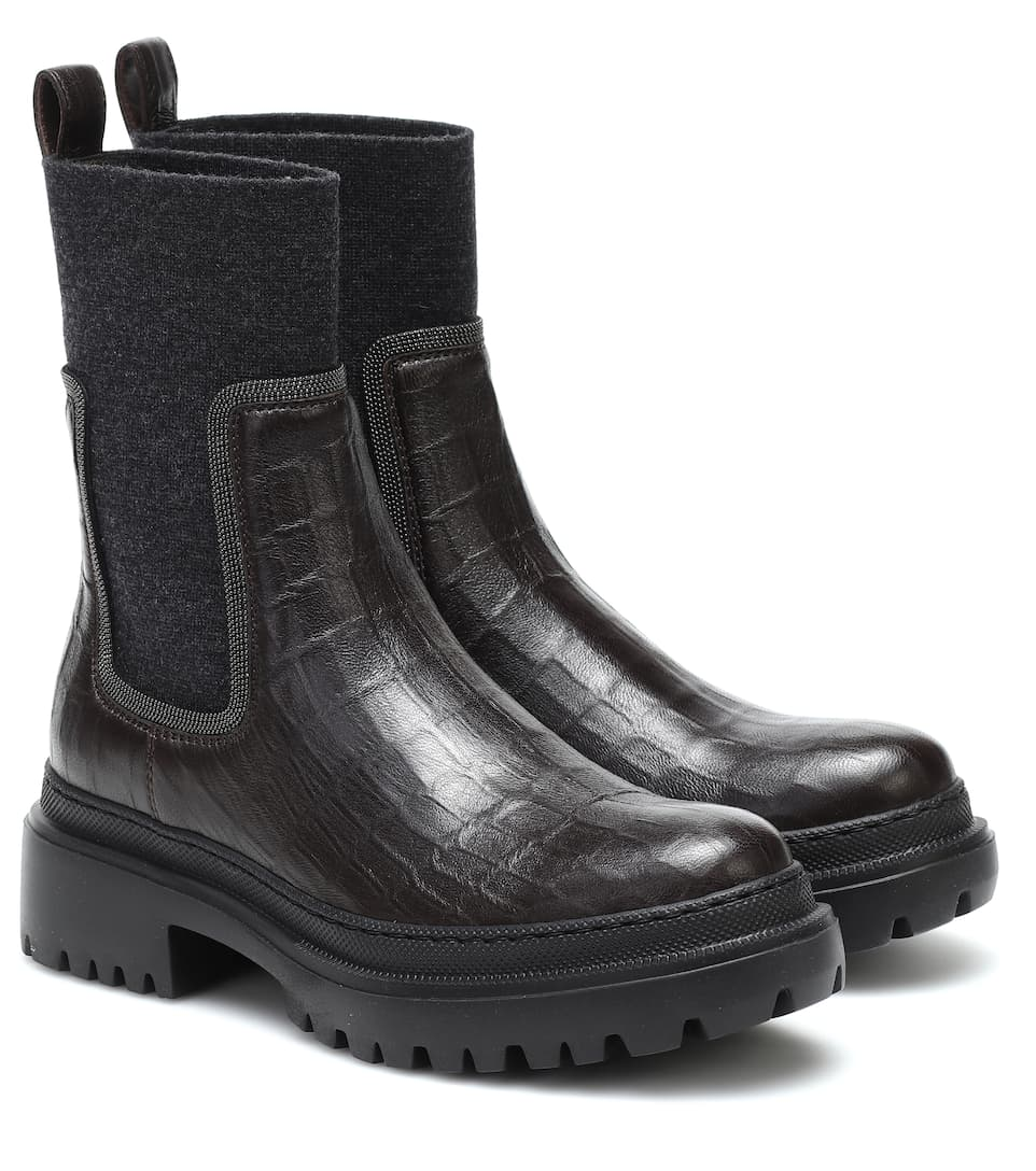 Brunello Cucinelli Womens Wedge Ankle Boot