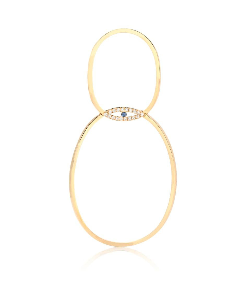 Boucle D'oreille Unique En Or 18 Ct, Diamants Et Saphir A Little Medium Eye