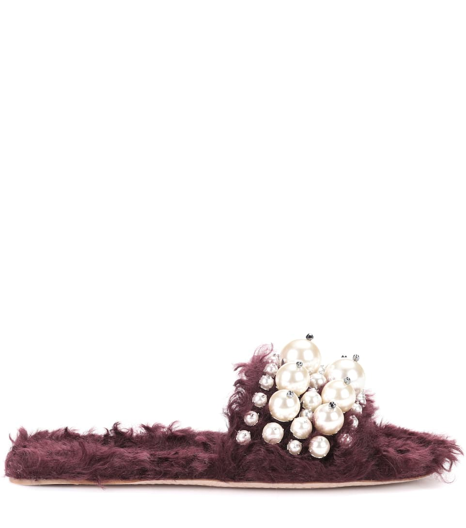 Cheap Sale Pay With Visa Free Shipping Big Sale Miu Miu Embellished faux fur slippers Bordeaux UEXkh19h