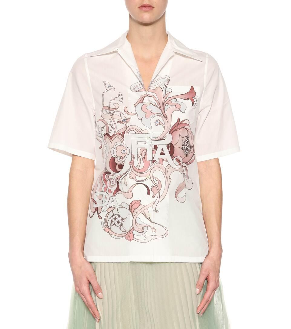 Prada Bedruckte Bluse aus Baumwollpopeline