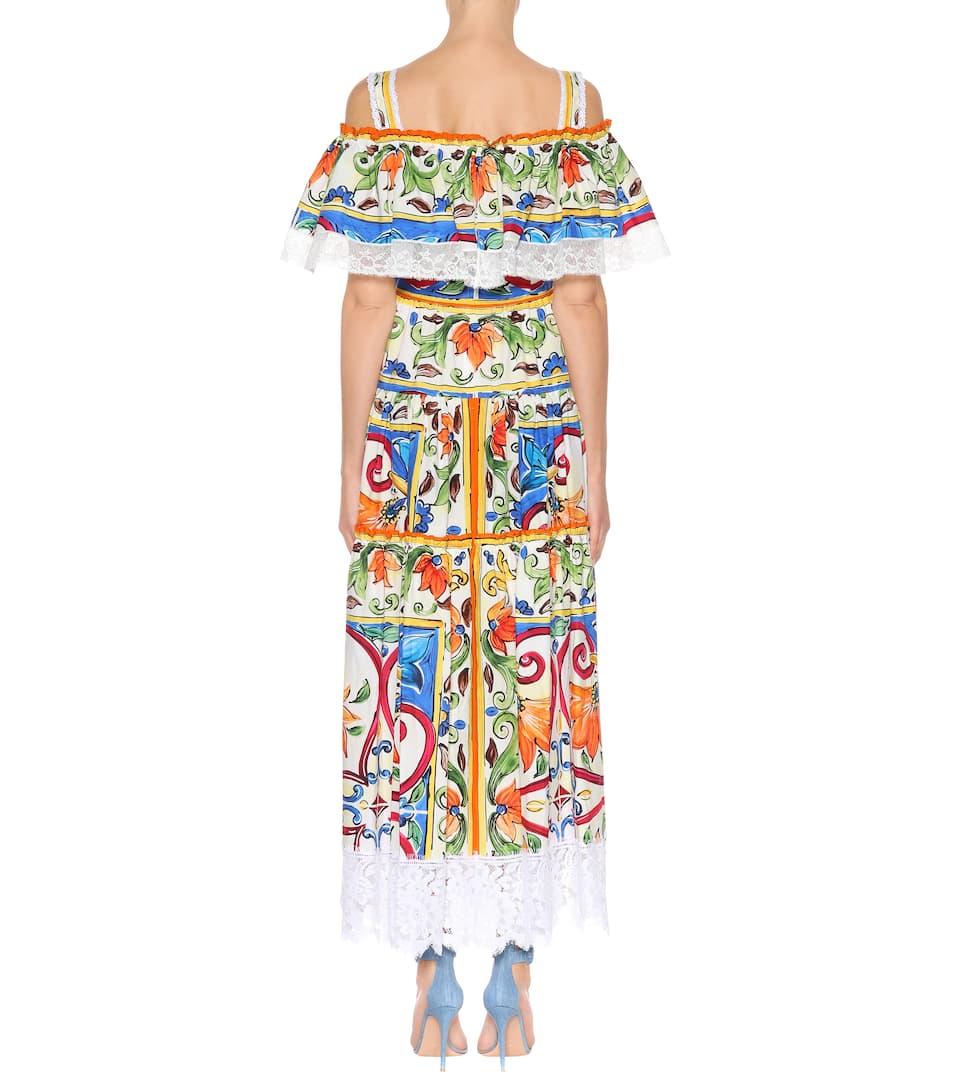 Dolce & Gabbana Bedrucktes Midikleid mit Baumwollanteil