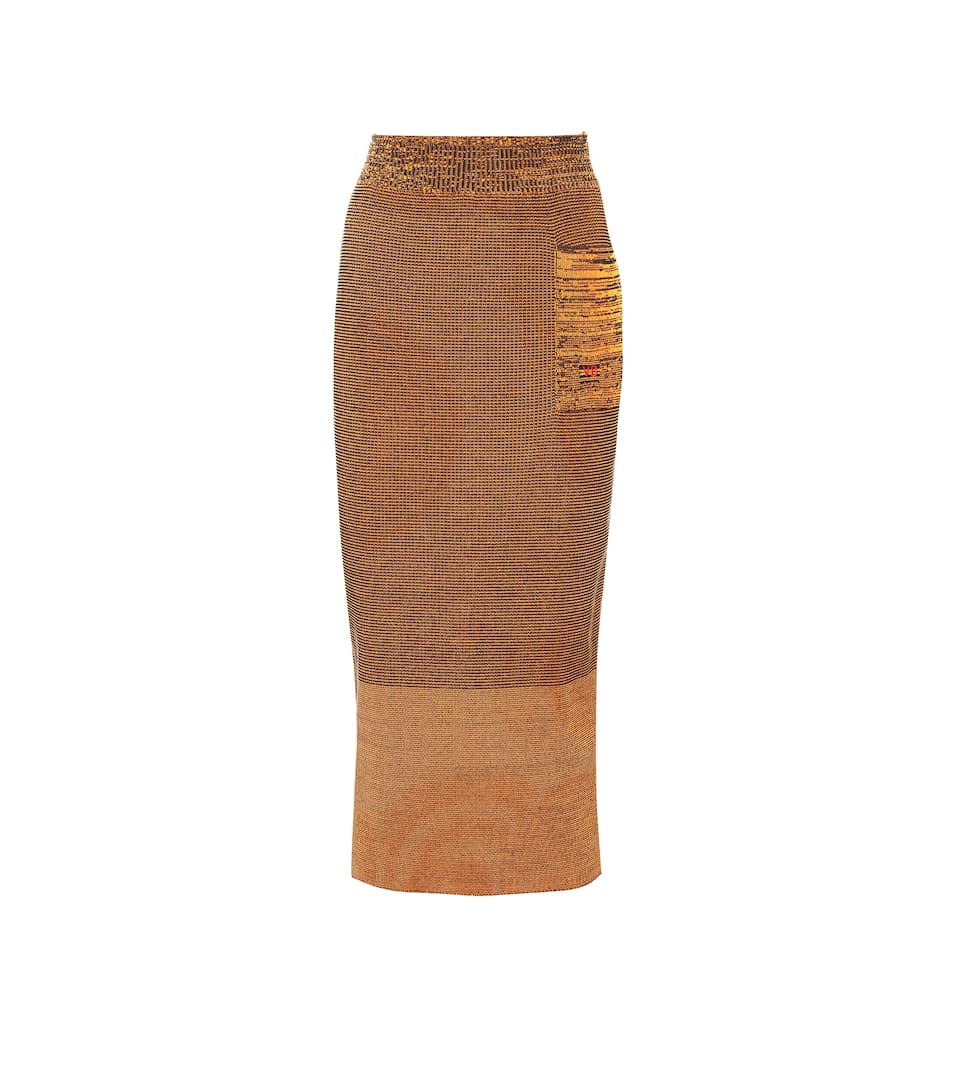 VICTORIA BECKHAM COTTON-BLEND MIDI SKIRT