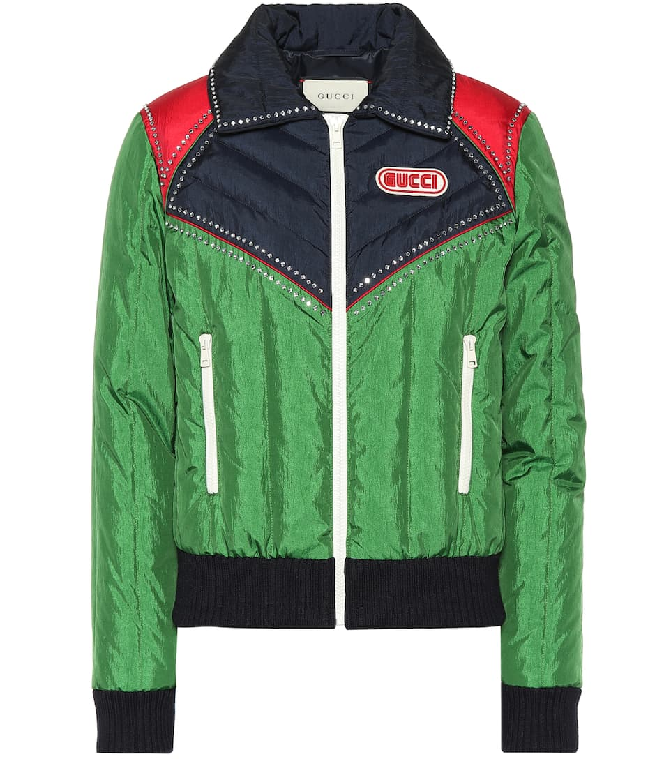 Nylon Ski Jacket W/ Crystals in Green