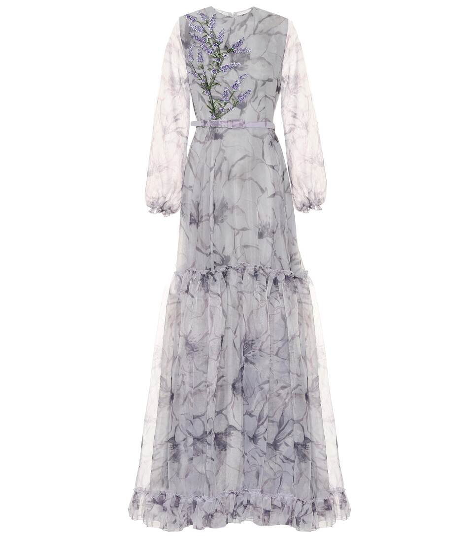 Costarellos - Embroidered organza gown
