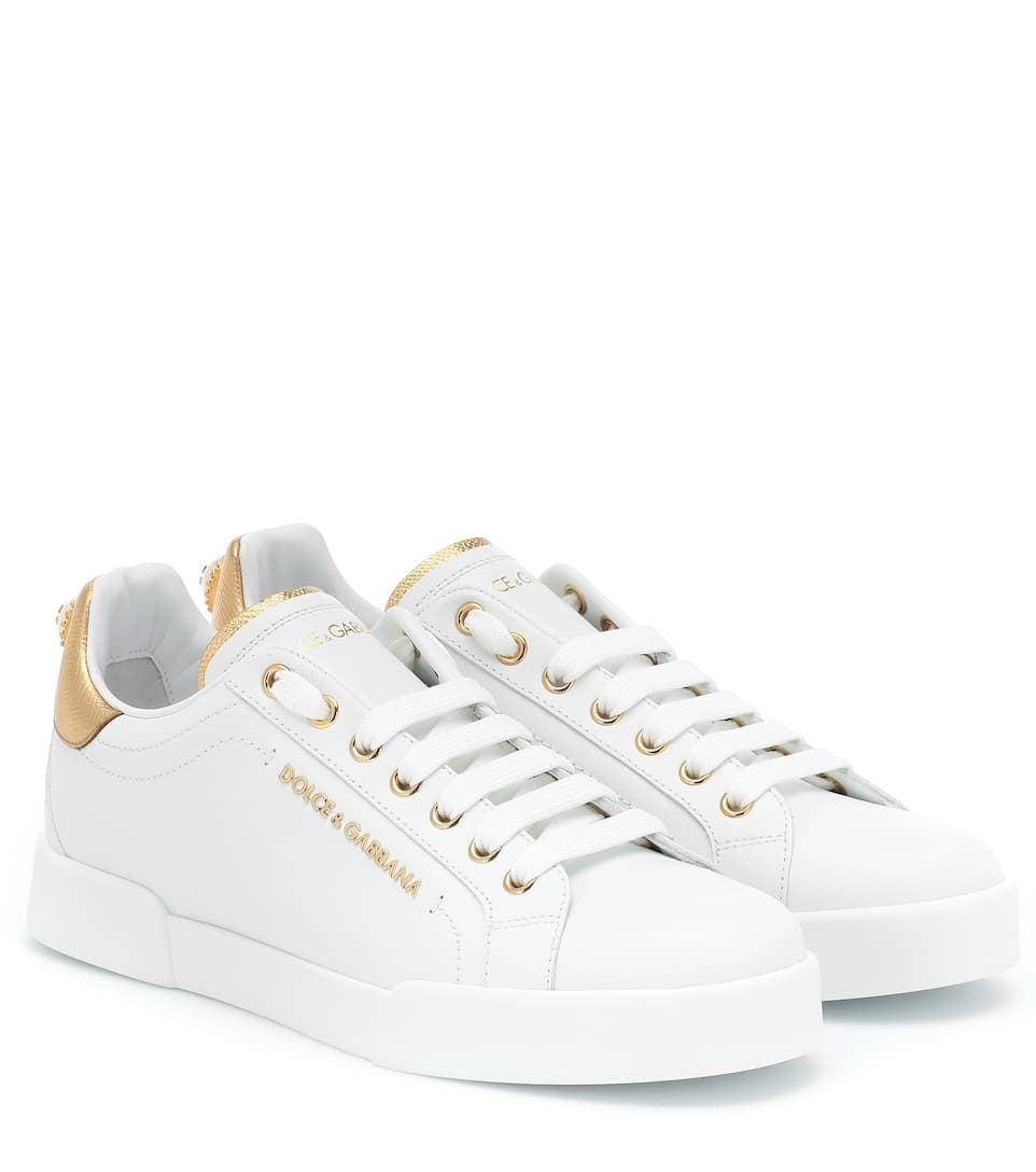 Sneakers Portfino In White Leather With Perla Logata