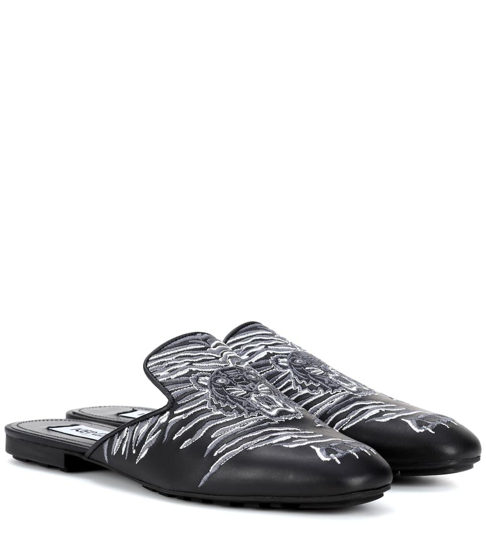 Kenzo Slippers aus Leder