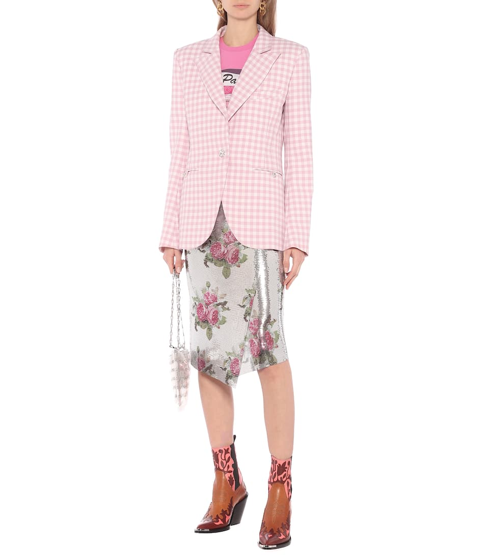 Paco Rabanne - Gingham virgin wool blazer