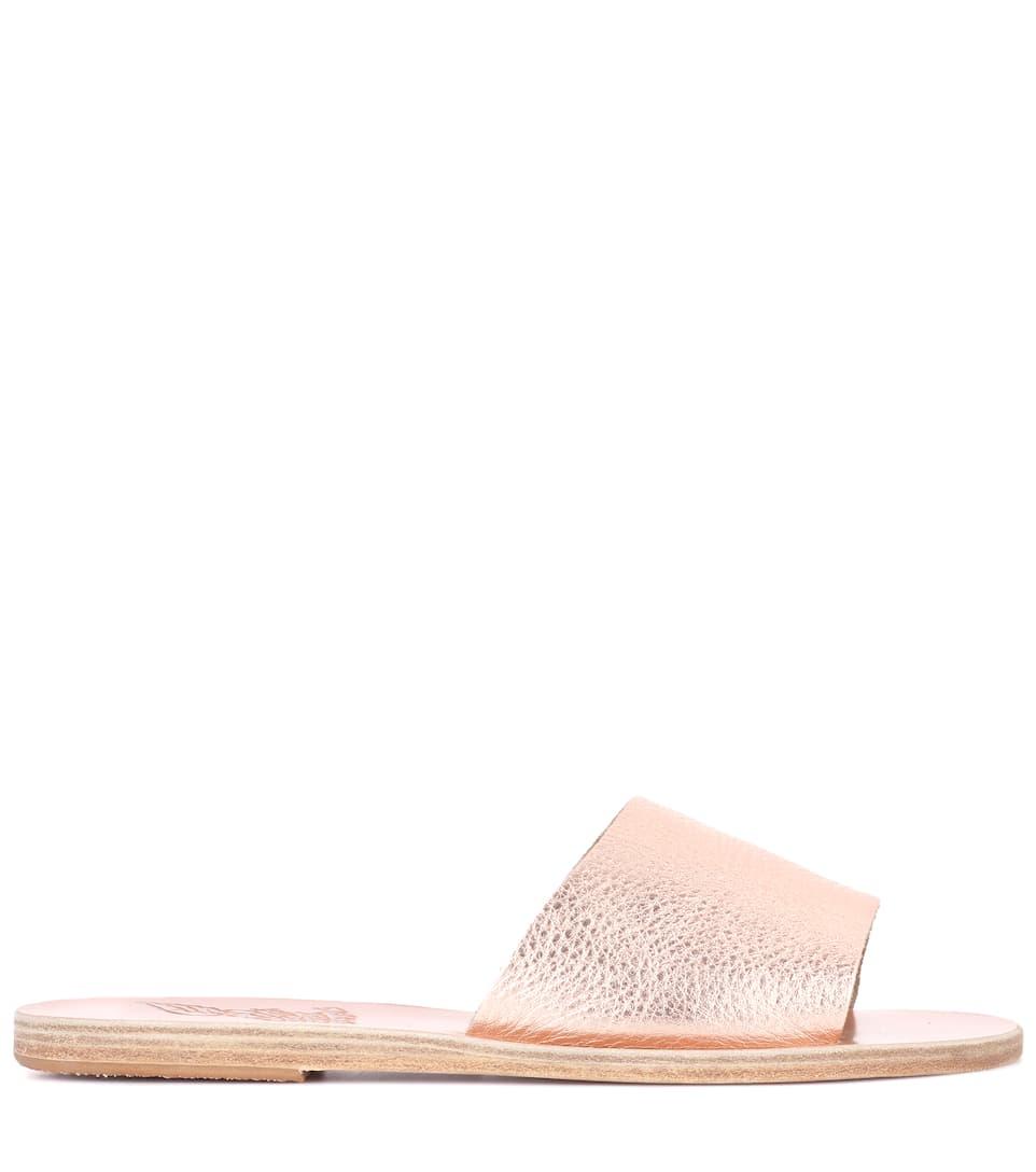 Ancient Greek Sandals Pantoletten Taygete aus MetallicLeder