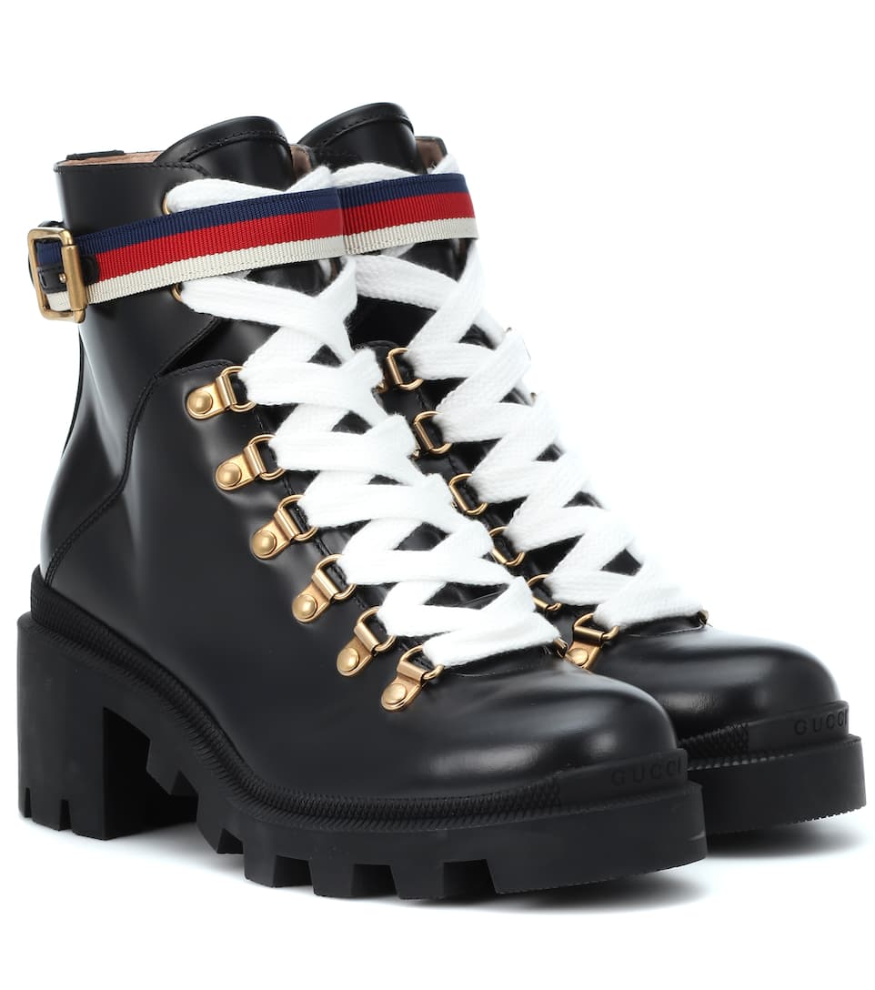 f4abe53c Sylvie Web Leather Ankle Boots - Gucci | mytheresa.com