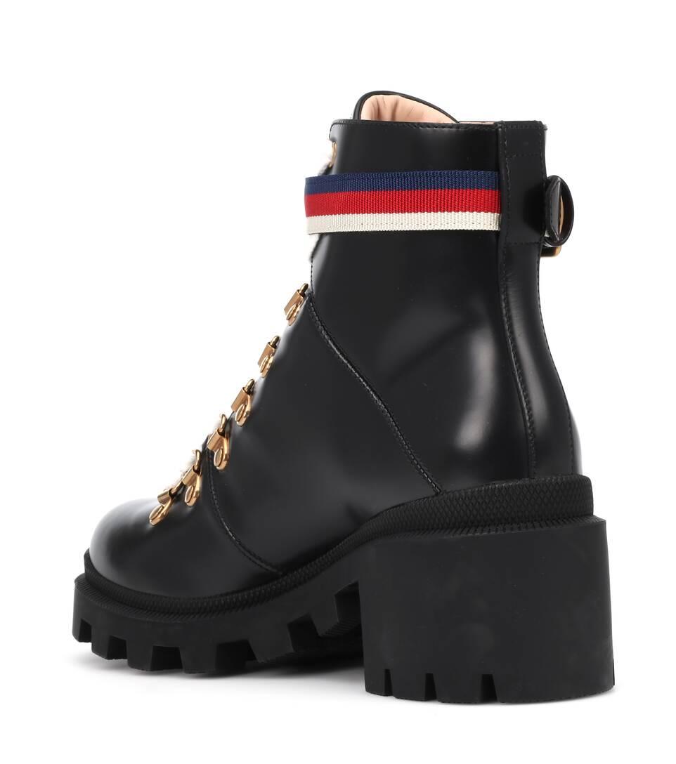 d2485fedc15b Sylvie Web Leather Ankle Boots - Gucci