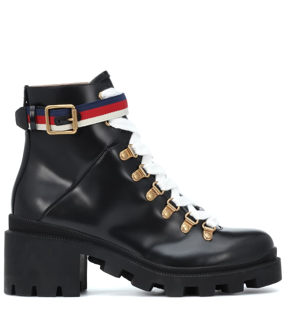 df2e3641c Sylvie Web Leather Ankle Boots | Gucci - mytheresa