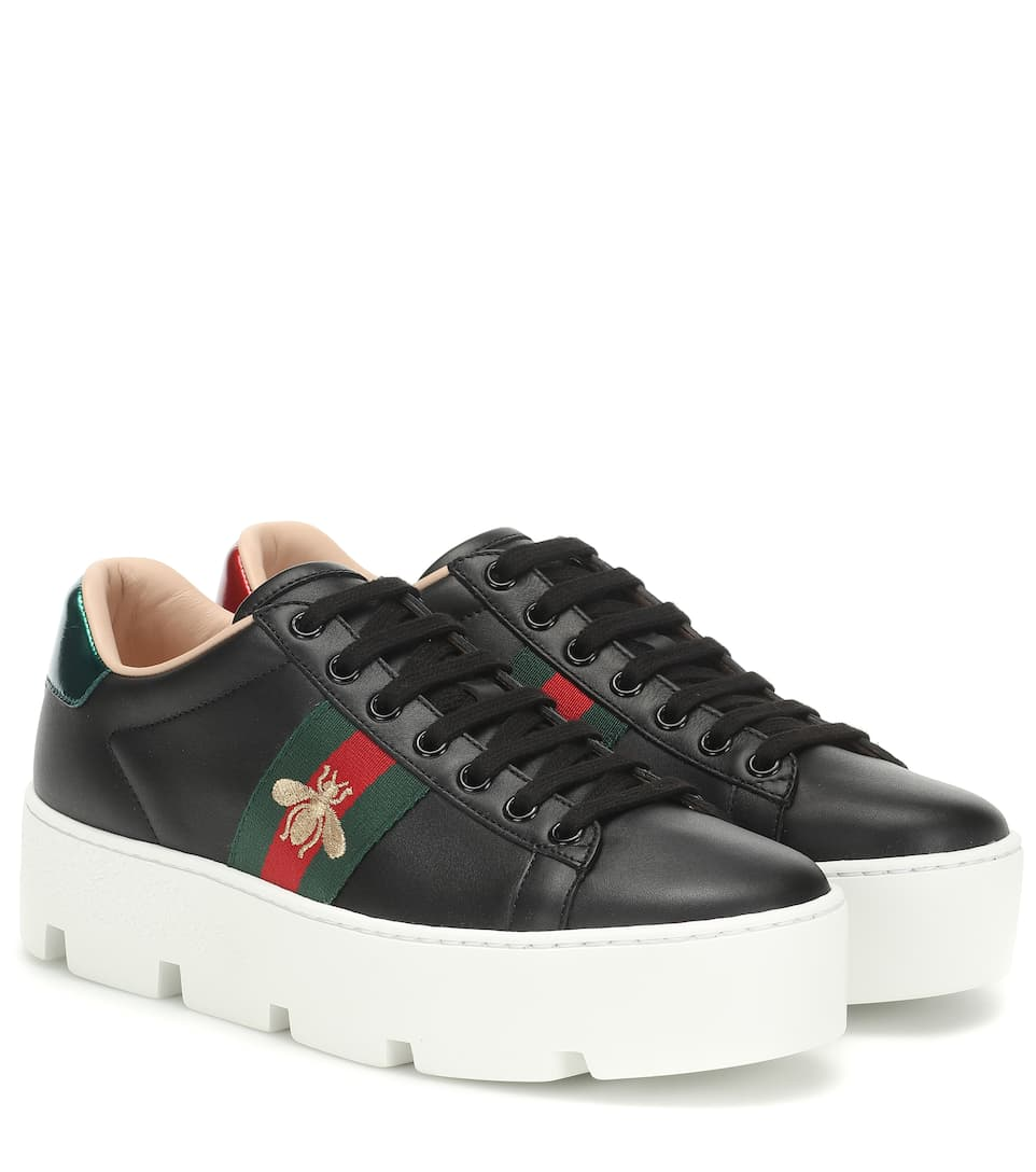 Ace Leather Platform Sneakers - Gucci