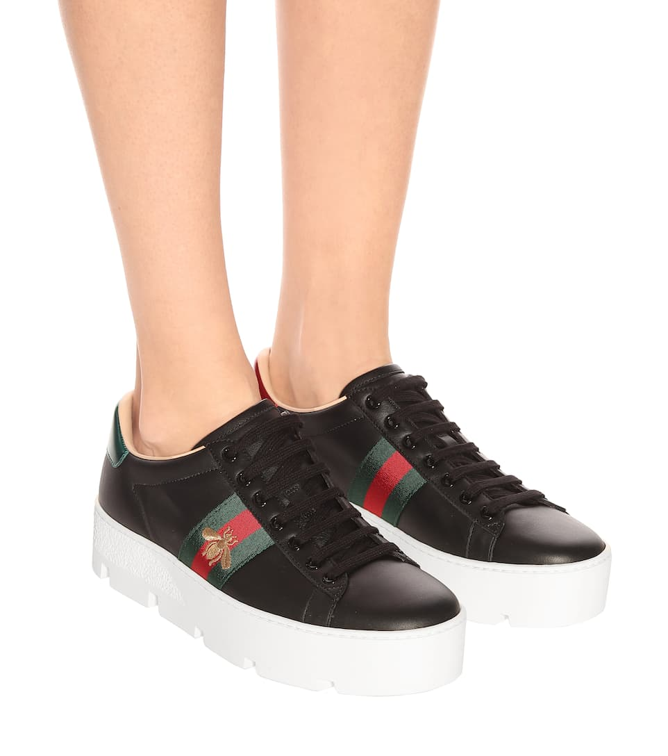 Ace Leather Platform Sneakers | Gucci