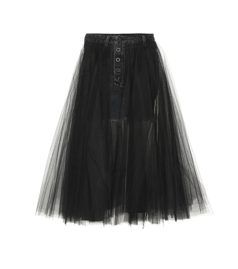 014f5cb20 Unravel - Denim and tulle skirt | Mytheresa