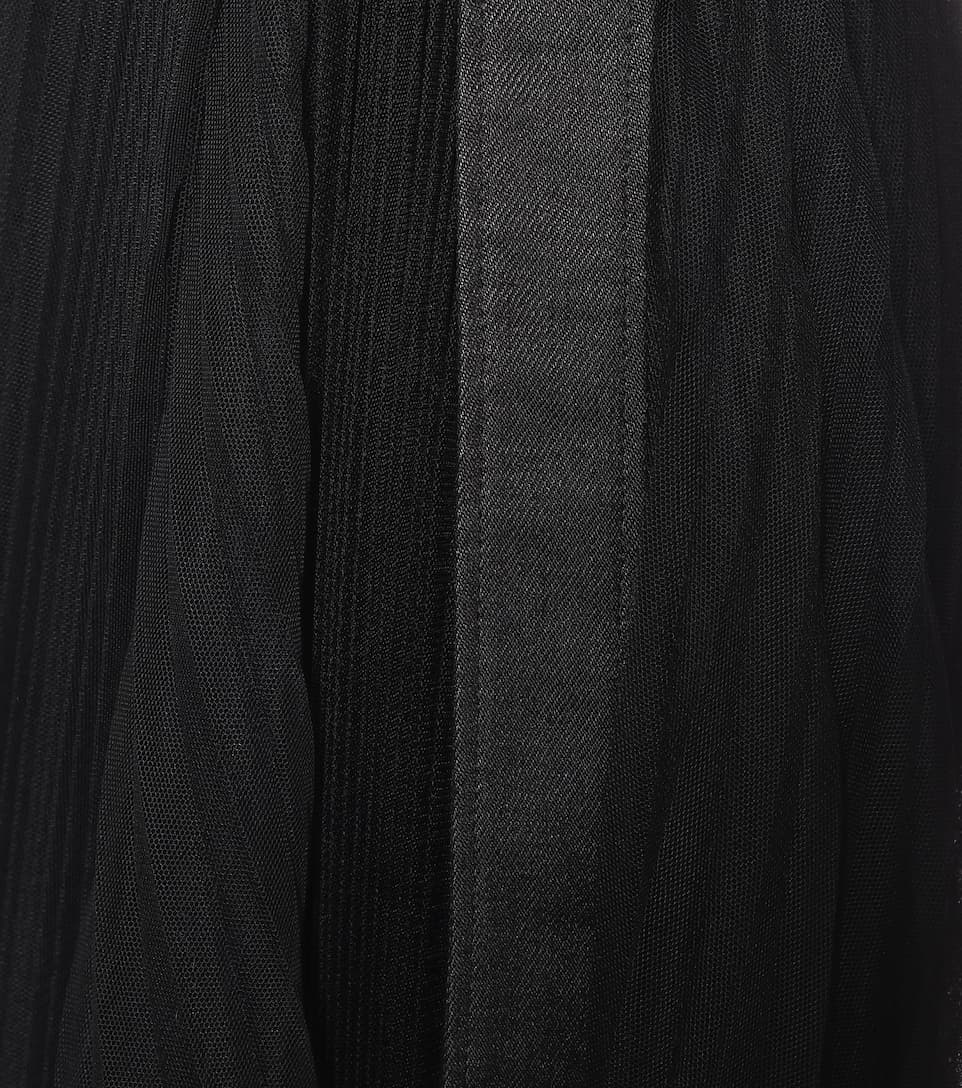 Brunello Cucinelli - Leather-trimmed tulle skirt