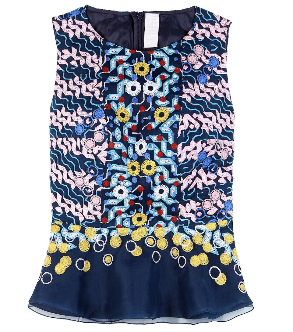 Peter Pilotto Embroidered silk top