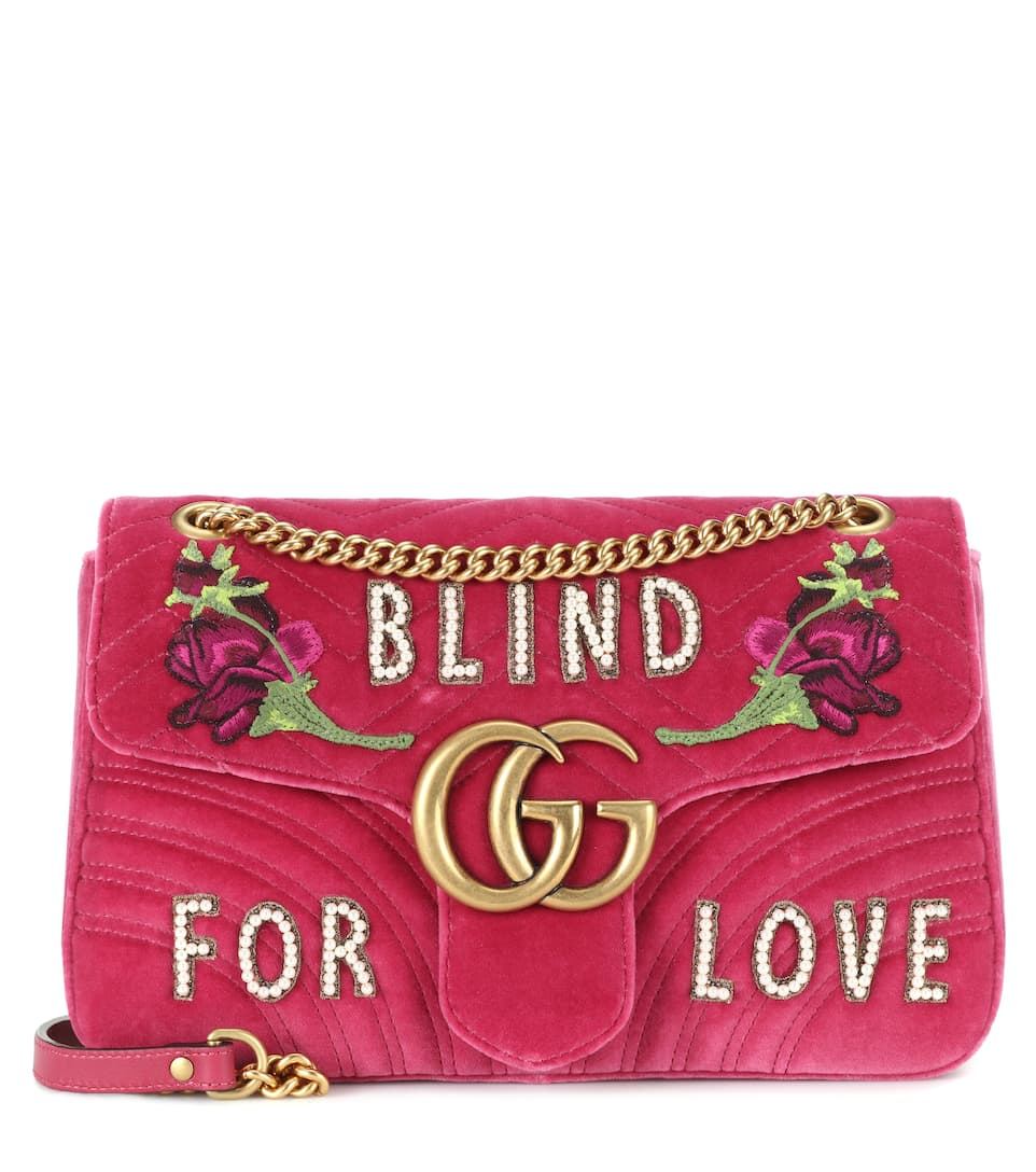 Pink Gg Marmont Medium Velvet Shoulder Bag