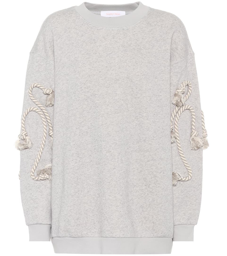 Cotton-Blend Sweatshirt in Drizzle/Slate Grey