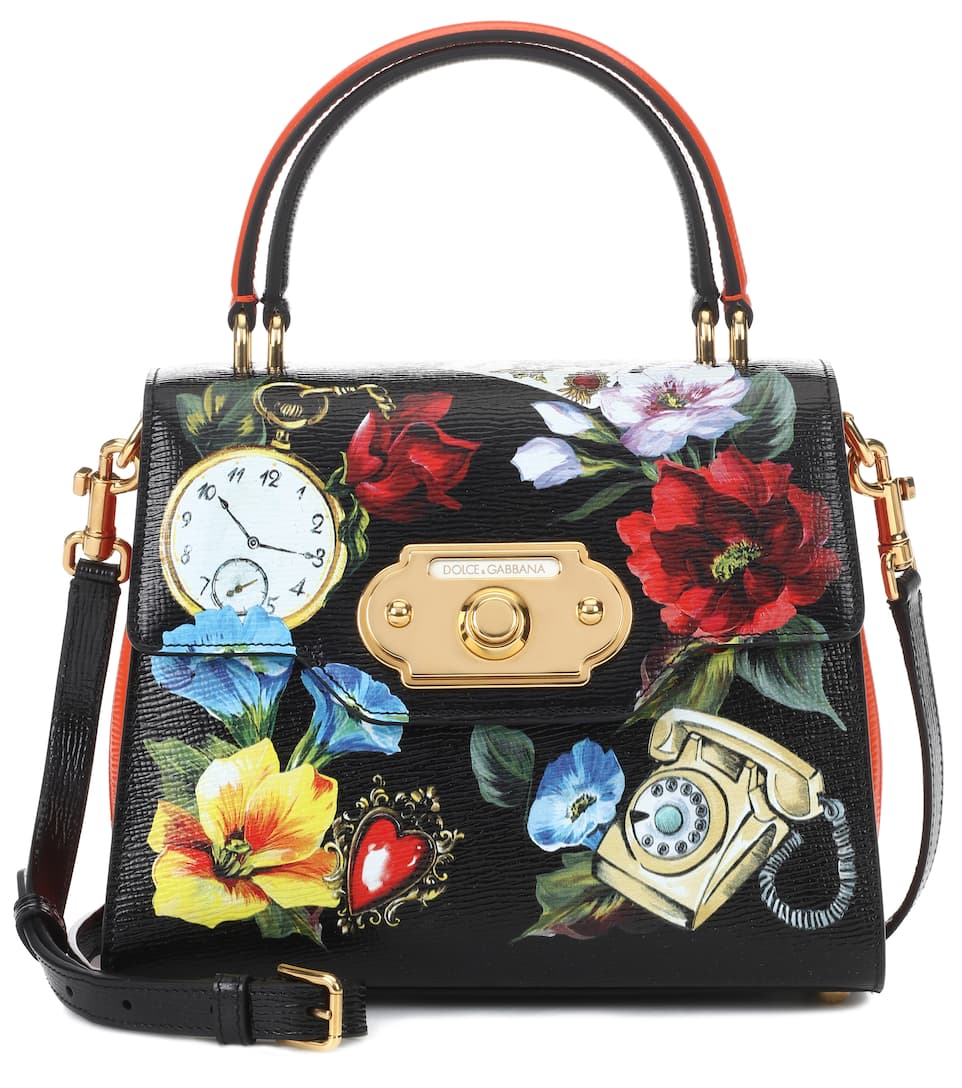 Welcome Handbag In Printed Hand-Grained Calfskin in Black