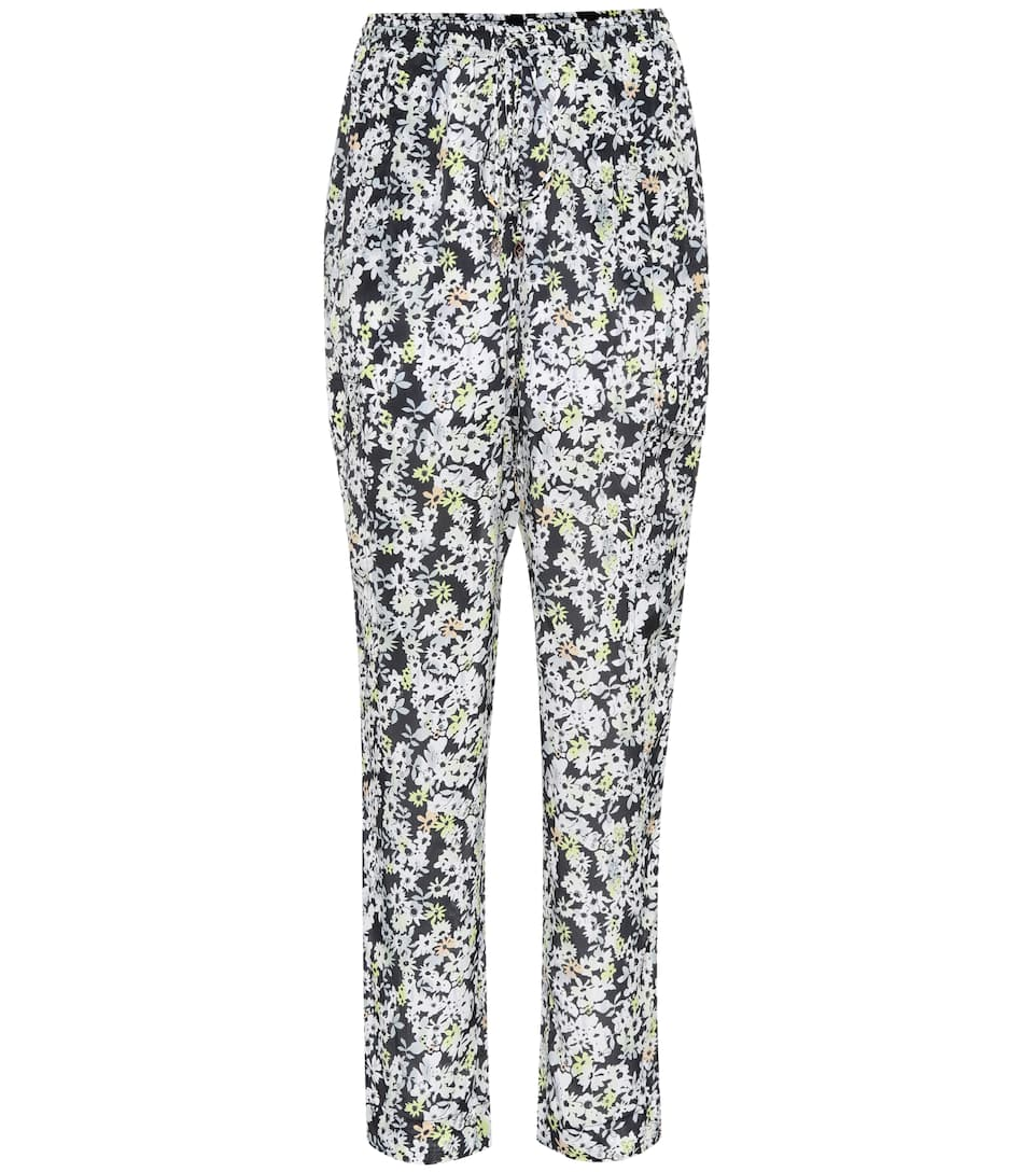 Floral-printed silk-blend trousers See By Chlo? fWxFZKQ44