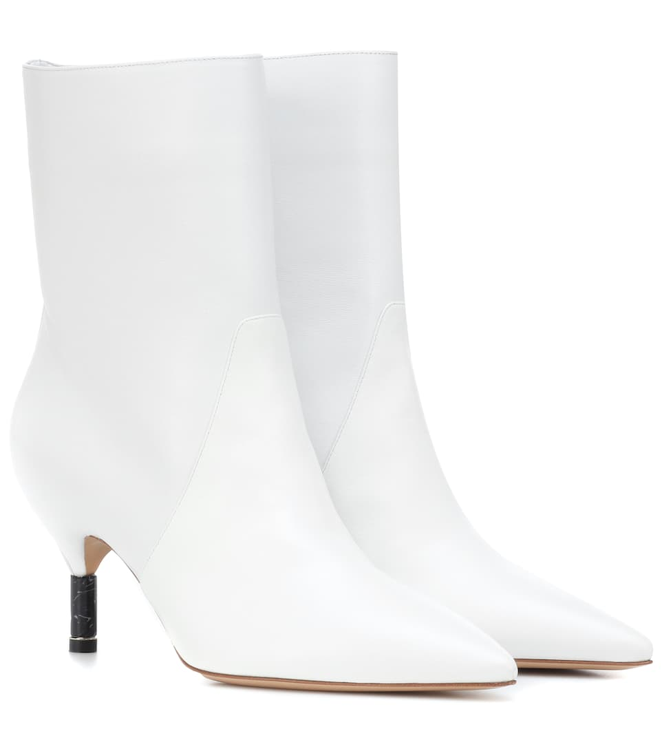 Mariana Leather Ankle Boots, White