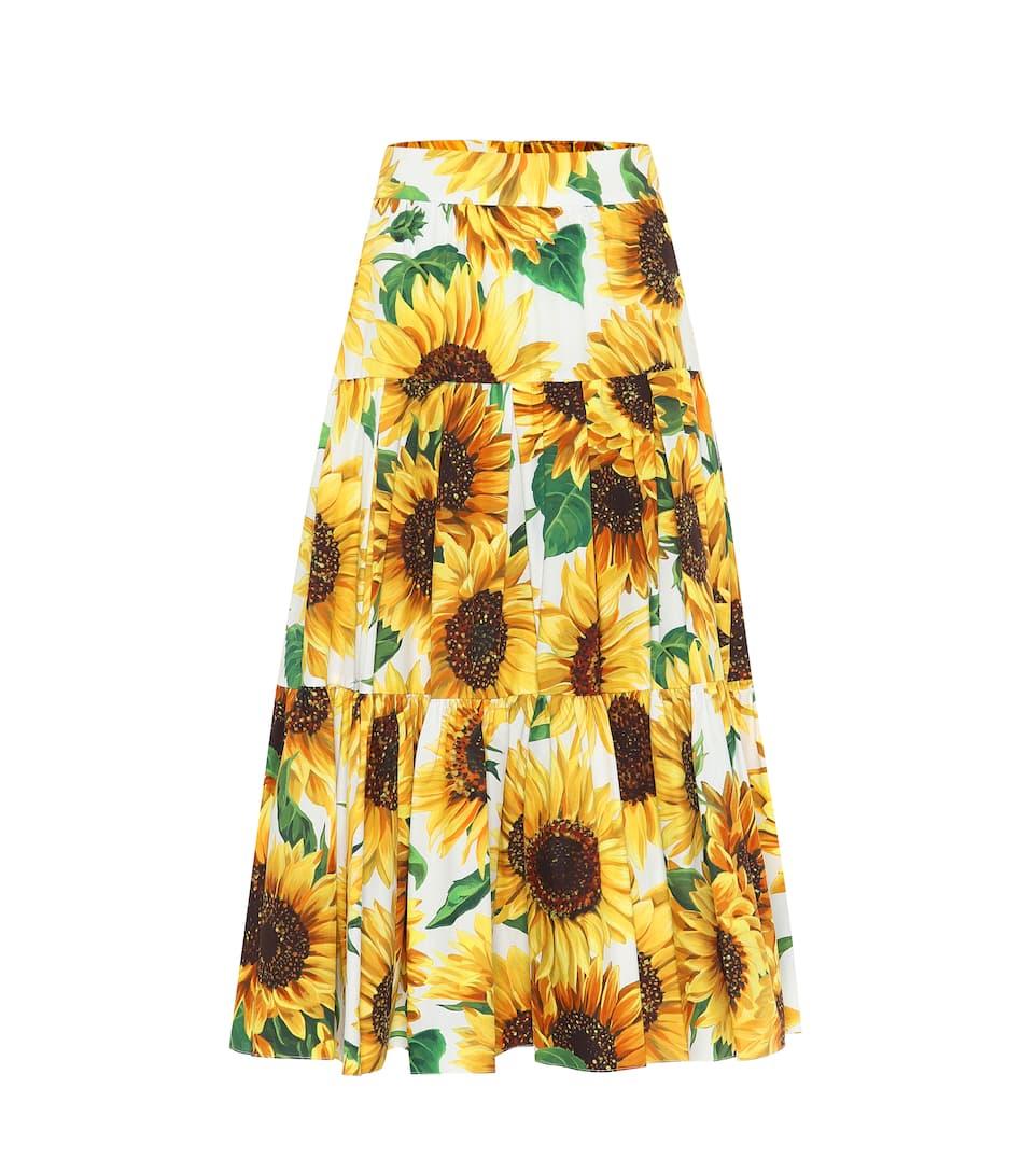 shopping beauty speical offer Sunflower-print cotton midi skirt