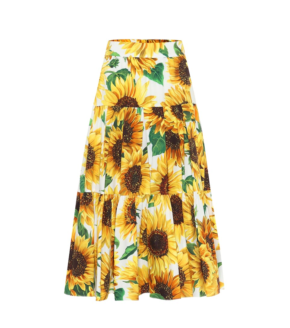 Jupe En Imprimée Gabbana Midi Coton Dolceamp; eWHYD9E2I