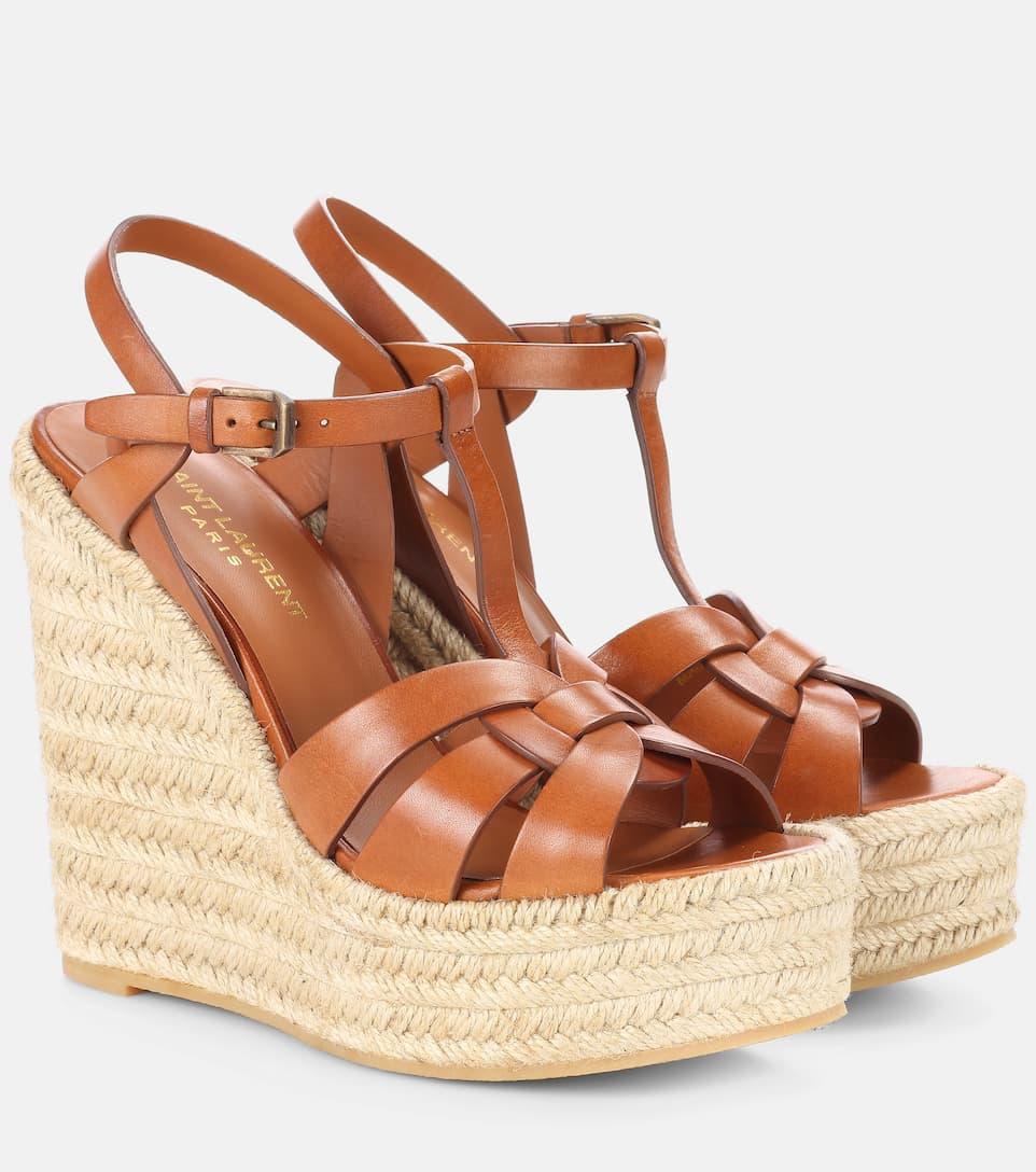 0d3c267f893 Leather Espadrille Wedge Sandals - Saint Laurent