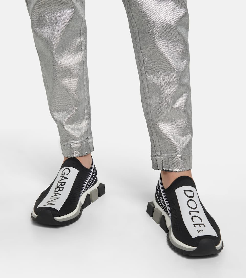 Sorrento Printed Stretch jersey Sneakers In Black   Tenis
