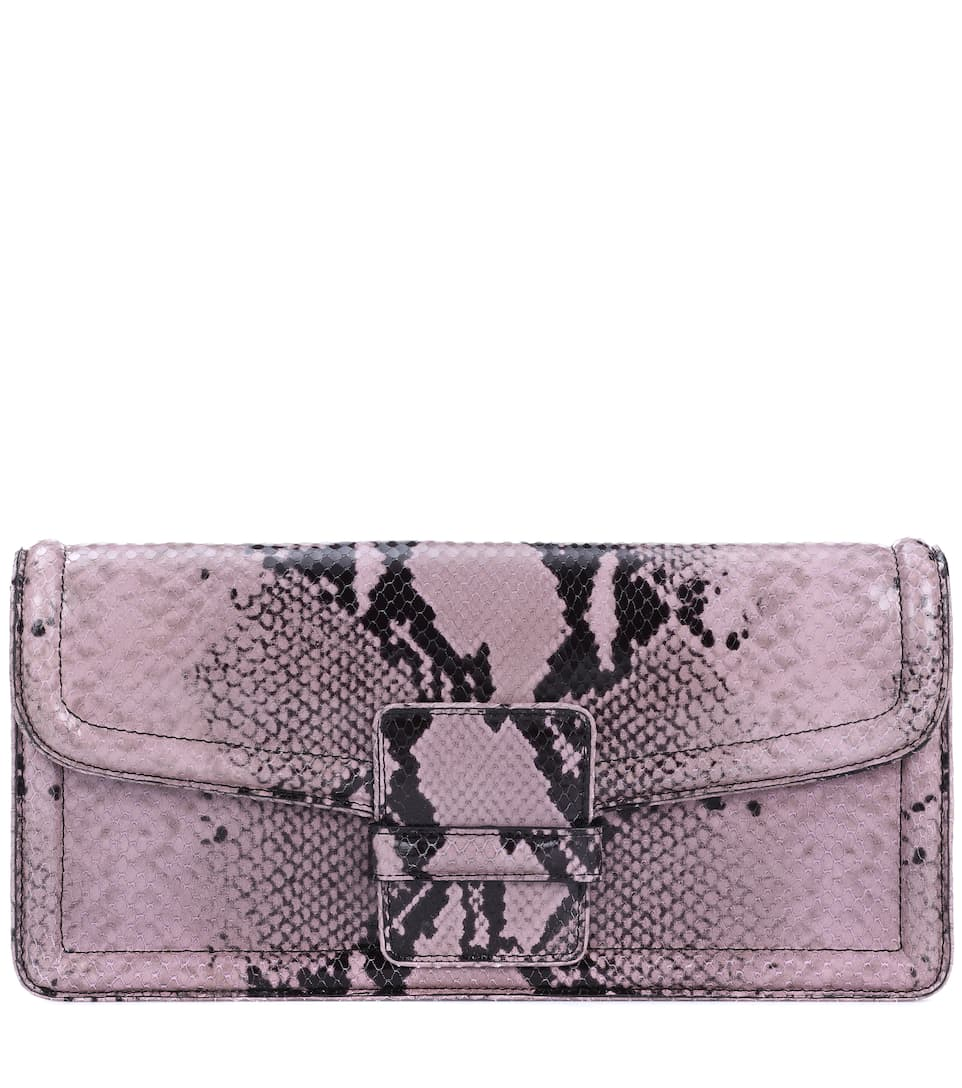 Dries Van Noten Bedruckte Clutch aus Leder