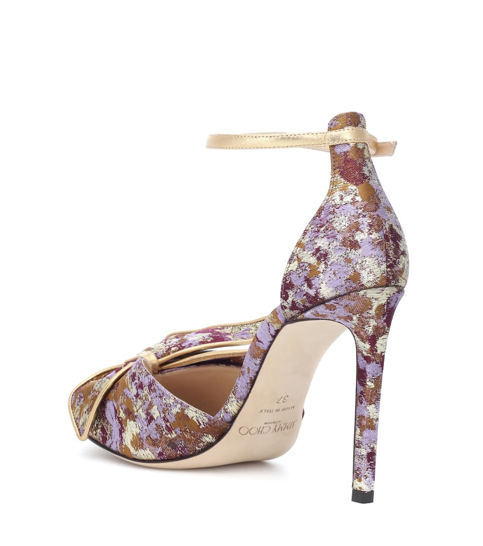 Jimmy Choo Karlotta 100 brocade sandals Grape Mix Fast Delivery Low Shipping Fee Cheap Price Free Shipping Geniue Stockist Free Shipping Shop Free Shipping Best Store To Get NHGpFJ