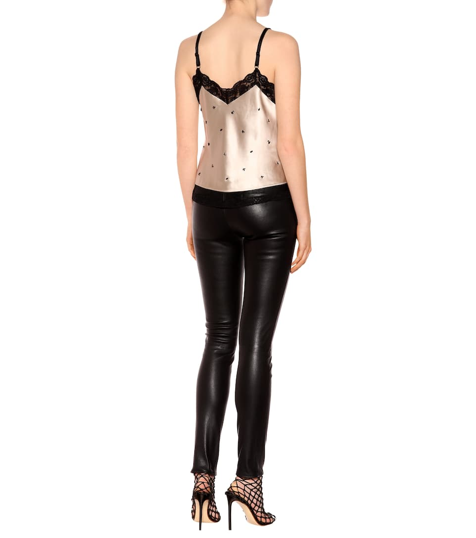 Alexander Wang Studded Satin Top With Lace