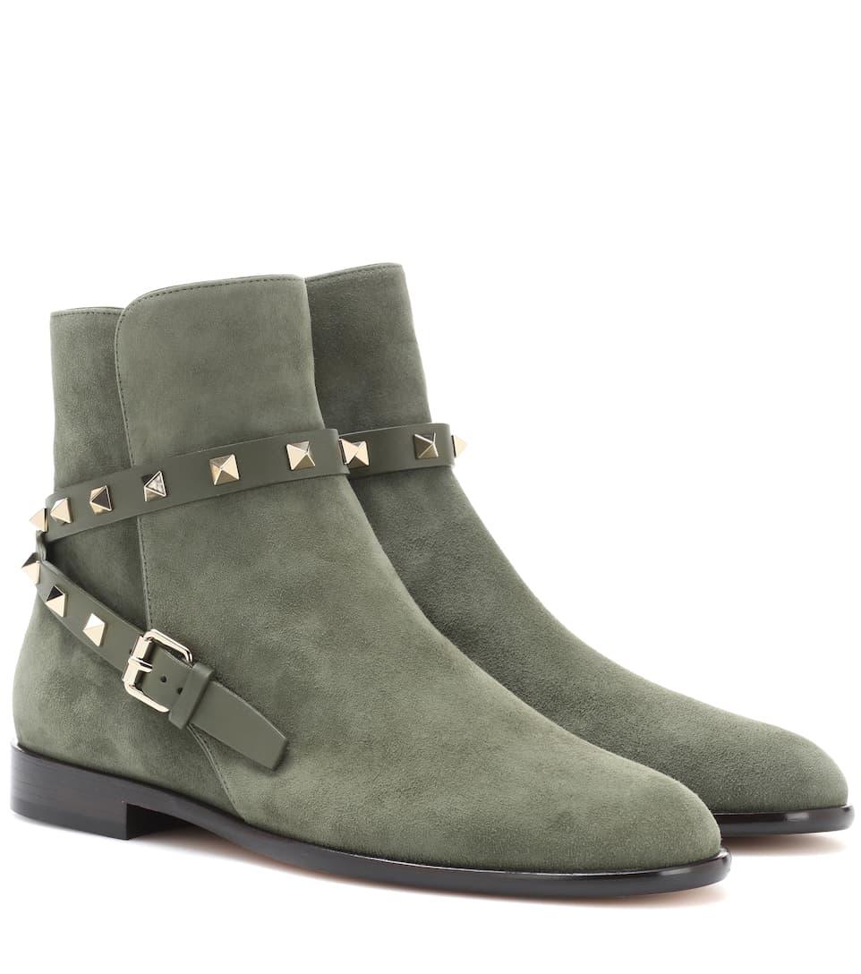 Valentino Valentino Garavani Ankle Boots Rockstud Carry Over aus Veloursleder