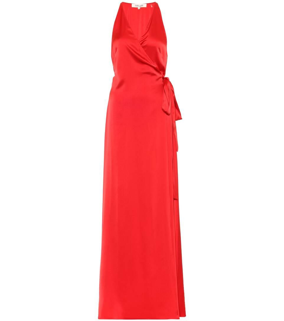 von Furstenberg Maxi satén de Cereza vestido Diane 7CqSgxwFF