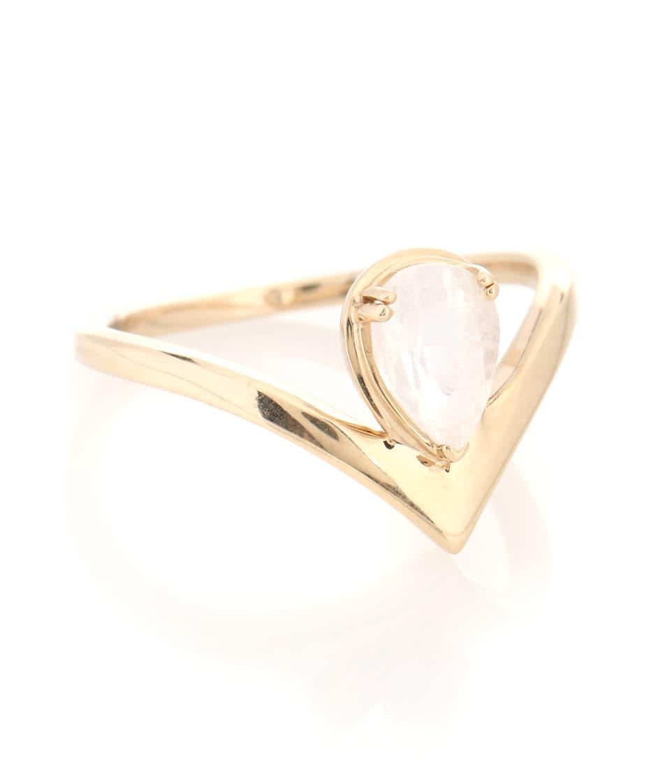 Anna Sheffield Celestine Orbit 14kt yellow gold ring with moonstone czri0cpR6v