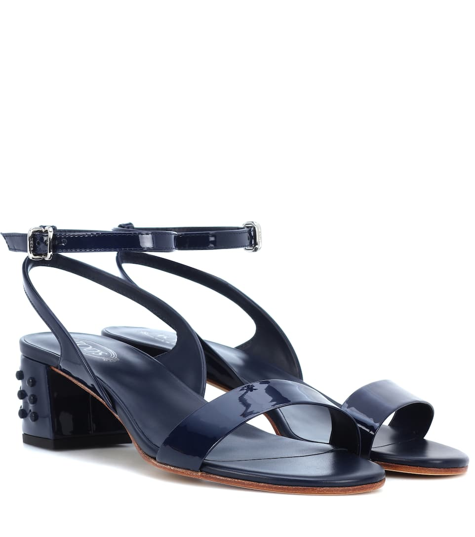 Tod's Women's Leather Heel Sandals In Blue