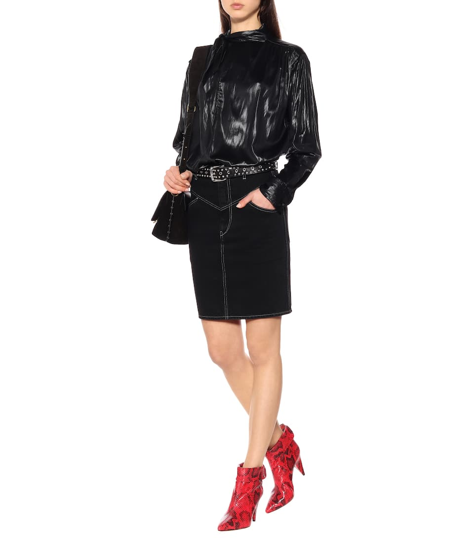 291cf30d6 Lorine High-Rise Denim Skirt - Isabel Marant | mytheresa.com
