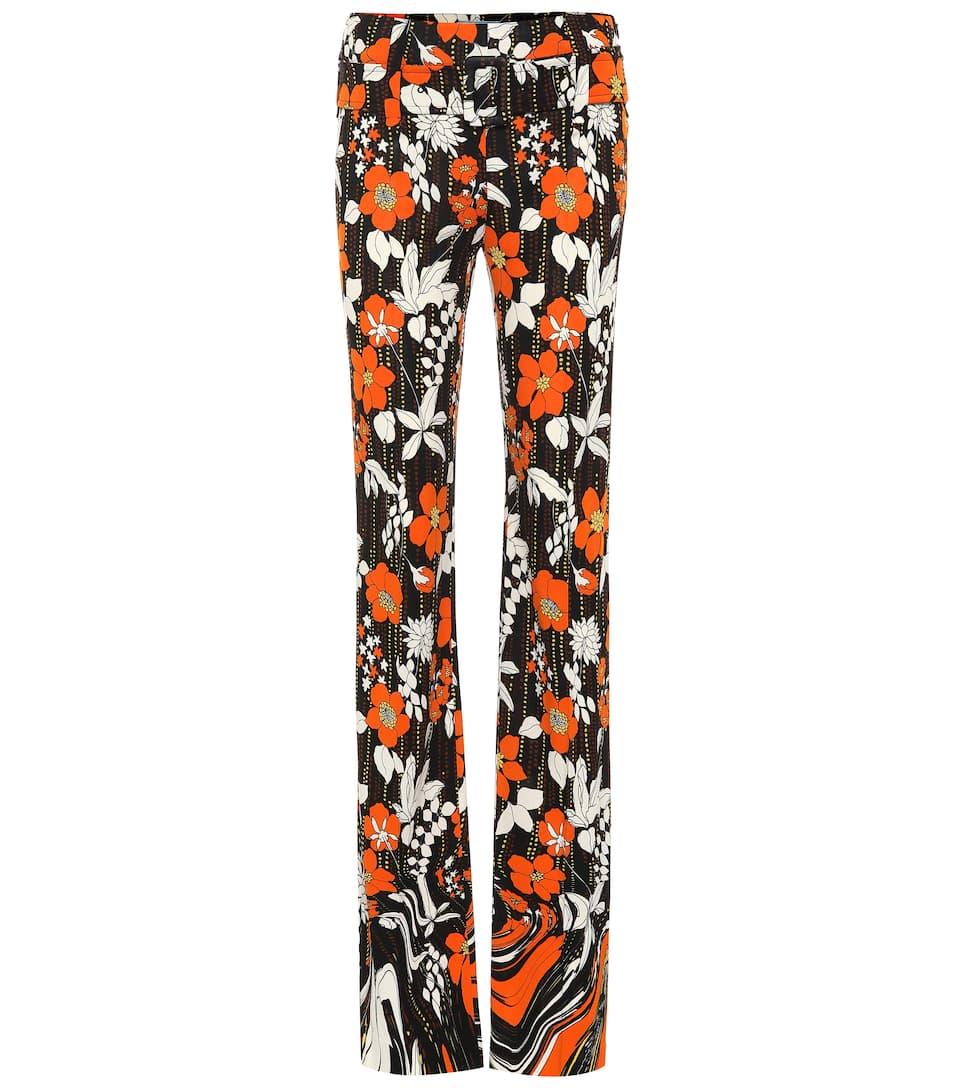 Prada Pants Floral jersey mid-rise pants