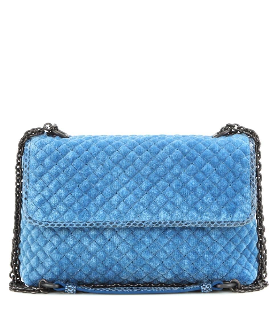Bottega Veneta Baby Olimpia quilted velvet and snakeskin shoulder bag
